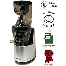 ÚLTIMO MODEL JUISSEN - REGALO libro 400 recetas + filtro sorbetes - Extractor zumos lento- 43 rpm - Licuadora prensado en frio - zumos verdes - Tecnología COLD PRESS - Libre PVC - BPA FREE - Fabricado en titanio - Boca ancha 8xcm - - Función de auto limpieza - Exprimidor frutas y verduras - Garantía del motor de 10 años