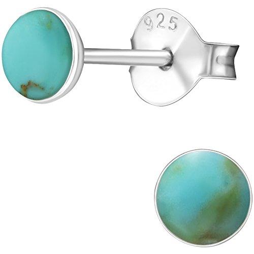 EYS JEWELRY runde Türkis Ohrstecker für Damen und Kinder 925 Sterling Silber grün-blau 4 mm Mädchen Ohrringe