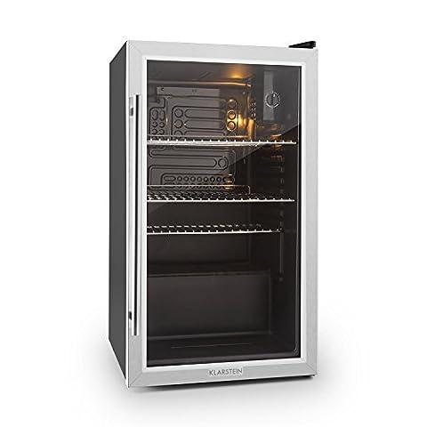 Klarstein Beersafe XXL • Kühlschrank • Getränkekühlschrank • Kühler • 80 Liter Fassungsvermögen • Edelstahl • Panorama Glastür • LED Innenbeleuchtung • 3 Regaleinschübe • 5-stufig einstellbare Temperatur • leise • schwarz-silber