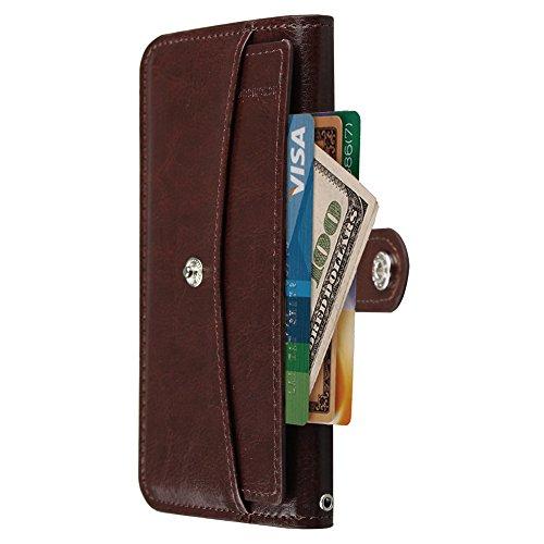 xhorizon® Premium Leder Brieftasche Hülle mit Abnehmbare Kreditkartenetui & Bargeld-Halter Case für Apple iPhone 6 iPhone 6 Plus Braun