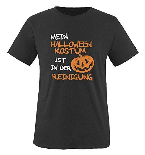 Comedy Shirts - MEIN HALLOWEEN KOSTÜM IST IN DER REINIGUNG KÜRBIS - Herren T-Shirt Schwarz / Weiss-Orange Gr. (College Halloween Kostüme Jungs)