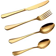 BESTONZON Set de Cubiertos de Acero Inoxidable Incluyen Cuchillo Tenedor Cuchara Cucharilla 4 Piezas (dorado
