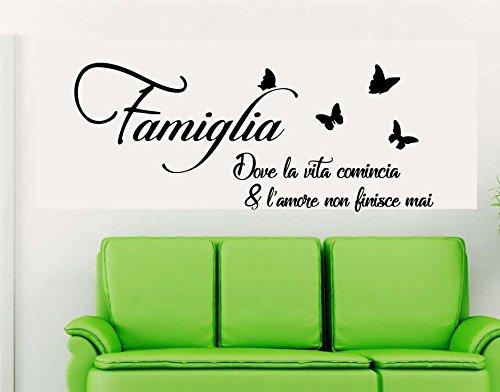 Pubblisystemservice adesivi murali frasi famiglia dove la vita comincia wall stickers frase citazione adesivo murale decorazione interni stickerdesign - misura 120 x 50 cm