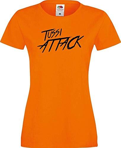 Shirtinstyle Lady T-Shirt Tussi Attack,orange, XS