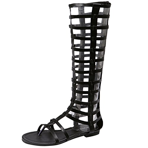 Oasap Women's Solid Hollow out Clip Toe Gladiator Sandals Black