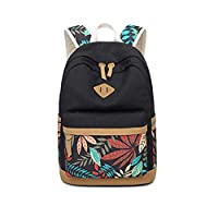Flower Pattern Casual Canvas Travel Bag School Bag Teens Daypack Bags Backpack Laptop Bag