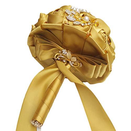 Zywtrade Hochzeits-Bouquet, Goldfarbe Bridesmaid Bridal Bouquet mit Crystals Soft Bänder, Künstliche Rosenblüten für Hochzeit, Party und Kirche,Gold