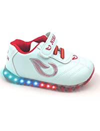Urbanfeet LED Light Shoes for Baby Girls & Baby Boys | Unisex | Age 12-24 Months | Red,Pink & Dark Blue