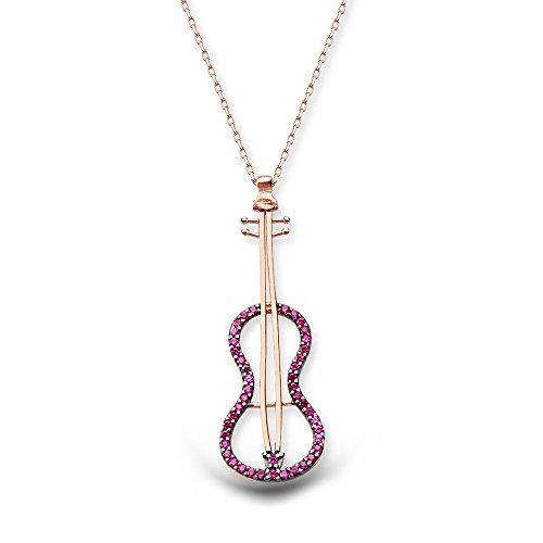 AQILA Damen Halskette Kette Violine Geige Zirkonia 925 Silber violett rosegold