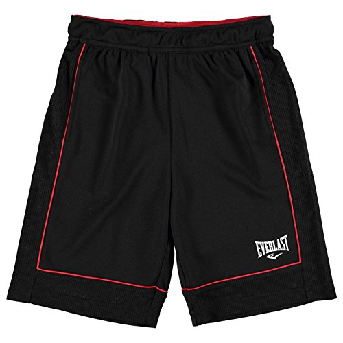Everlast Kinder Jungen Basketball Shorts Sporthose Kurze Hose Sport Bekleidung Black/Red 11-12 (LB)
