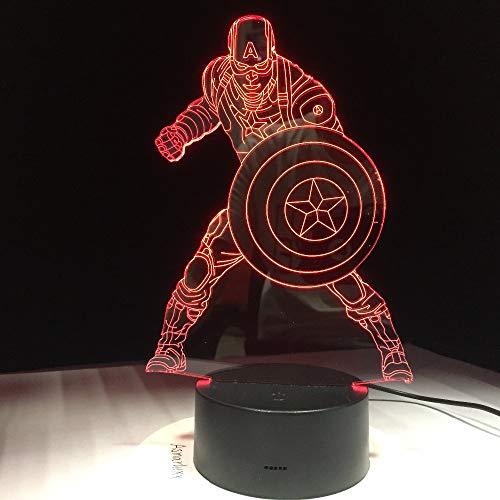 DDBBhome Marvel Civil War Capitán América 7 Cambio De Color De Luz Ilusión 3D Lámpara De Bombeo Halloween Navidad Regalo para Niños
