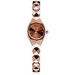 Mode wasserdicht Quarz Wolfram Stahl Armband Frauen Damenuhr , rose gold