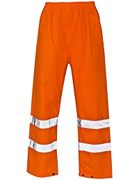 061751a2c6a8 Mens Hi Vis Viz Visibility Waterproof Over Trousers Pants Safety Work Wear