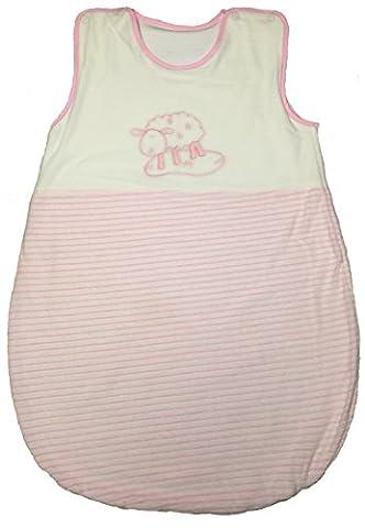 Baby-Bow Gigoteuse Douillette 70x48 cm bébé 0-3-6 mois, blanc / rose avec theme mouton