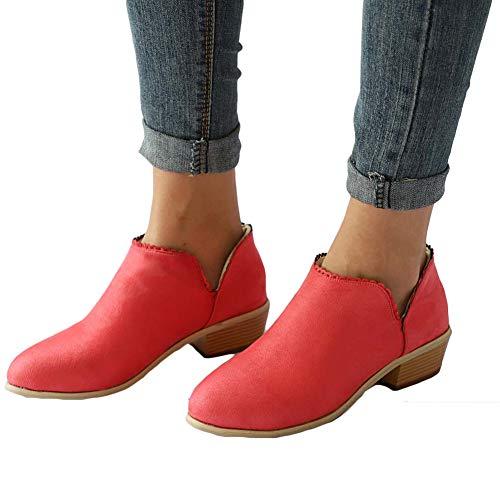 Stiefeletten Damen Leder Wildleder Sommer Low Top Ankle Boots Blockabsatz Stiefel mit Blockabsatz Elegant Schuhe Schwarz Blau Rosa Gr.35-43 RD39