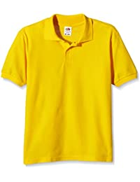 Fruit of the Loom childs 65/35 pique polo shirt Sunflower Yellow 12 to 13