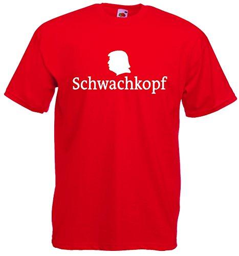 world-of-shirt Unisex T-Shirt SCHWACHKOPF Trump Funshirt|rot-L (Unisex T-shirt Präsident)