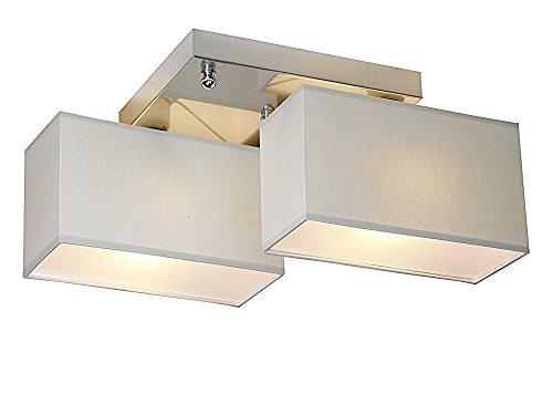 Deckenlampe - Wero Design Eris-003 C (Grau) - Deckenleuchte, Leuchte, 2-flammig, Metall, Stoff, LAMPENSCHIRME MIT BLENDEN