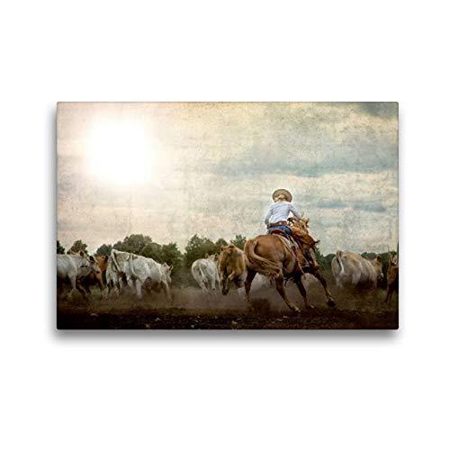 Calvendo Premium Textil-Leinwand 45 cm x 30 cm quer, EIN Motiv aus dem Kalender Mecklenburgs Wilder Westen   Wandbild, Bild auf Keilrahmen, Fertigbild auf Leinwanddruck: Viehtrieb Tiere Tiere