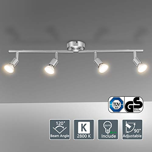 Bojim Plafonnier LED 4 Spots Orientables, 4 X 6W Ampoule GU10, Blanc Chaud, Nikel Mat, Applique Plafond, 230V, Eq.54W, 600lm 82Ra IP20 Non Dimmable