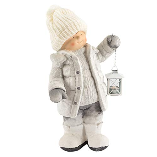 art decor Winterkind Junge mit Teelichthalter-Laterne, Höhe ca. 52cm, Wollmütze, Weiß