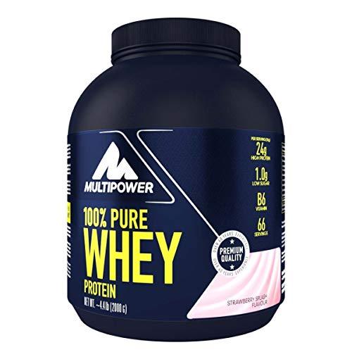 Multipower 100{ad2d5073b9e9e5a8dda24ac25373024c3a1daee225ad9e2a903f66661dcef08e} Pure Whey Protein - wasserlösliches Proteinpulver mit Erdbeer Geschmack - Eiweißpulver mit Whey Isolate als Hauptquelle - Vitamin B6 und hohem BCAA-Anteil - 2 kg