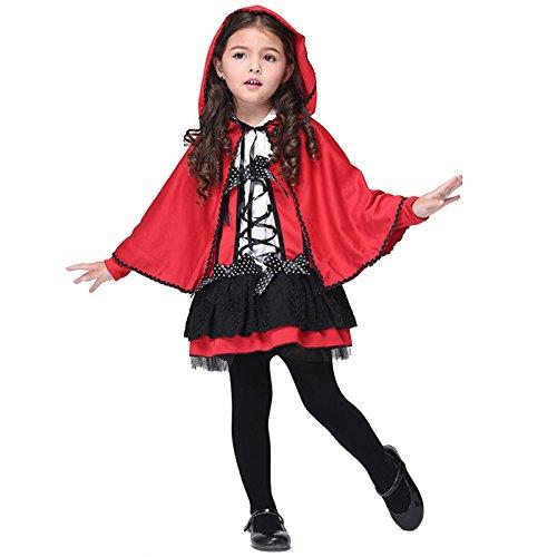 M&A 2 piezas Disfraz Niña Roja Caperucita Cosplay Halloween Navidad Carnaval Capa+Vestido
