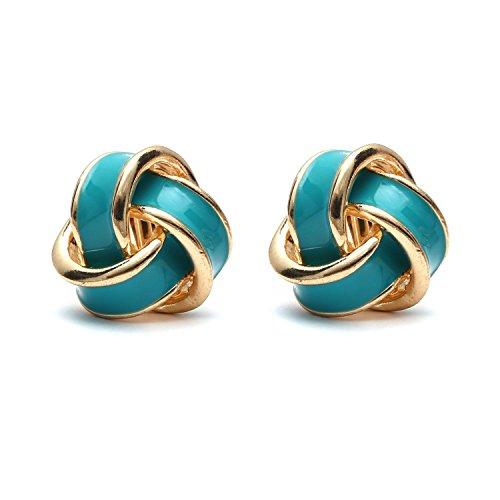 Idin Jewellery - Orecchini a clip con retro a vite color oro con nodo smaltato turchese