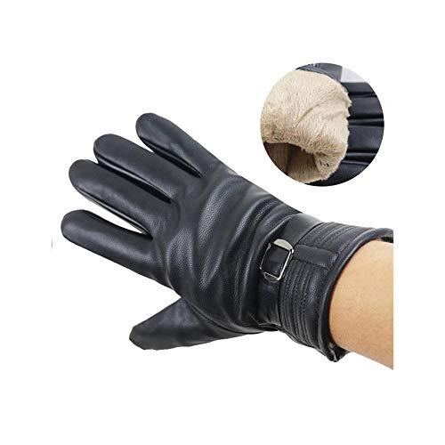 LONFENN Guanti in pelle PU regolabili Uomo Touch Screen Guanti riscaldati invernali Guanti di pelliccia impermeabili per la guida-Nero,Taglia u