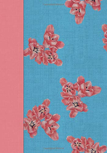 Blue with Pink Flowers Chintz Notebook -- Creative Journal: LINED, College Ruled, 7x10, Cream Paper, 184 Pages - Blue Chintz