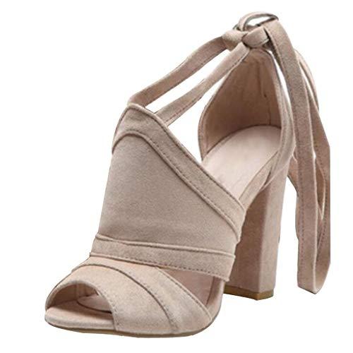 NMERWT Frauen Sommer Schuhe High Heels Square Heel Seite Leere Ankle Cross Knöchelriemen Riemen Offene Spitze Damen Sandalen Stiefeletten