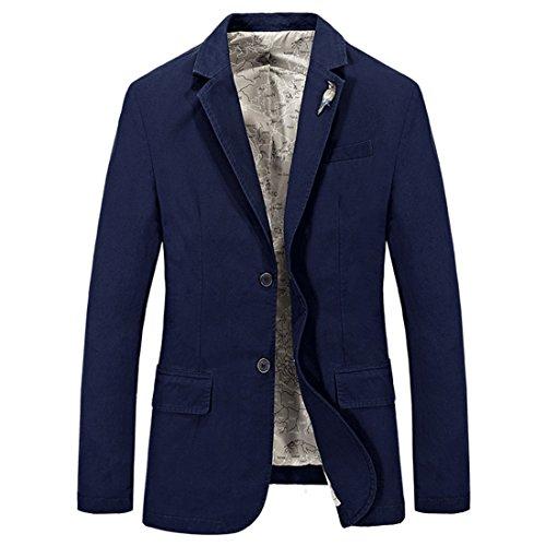 HDH Men's Blazer Casual Slim Fit Cotton Autumn Smart Two Buttons Business Suit Jackets and Coat