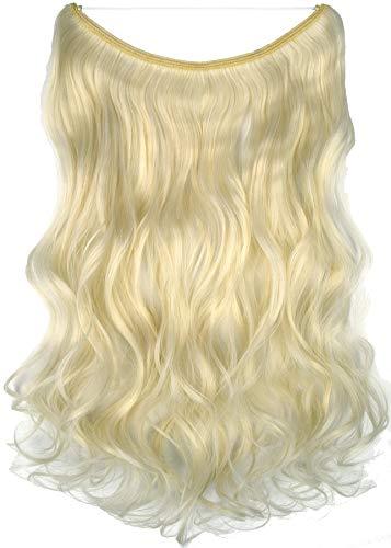 Topreety - extension per capelli halo, ondulata, con filo elastico invisibile, 61 cm, 100 g