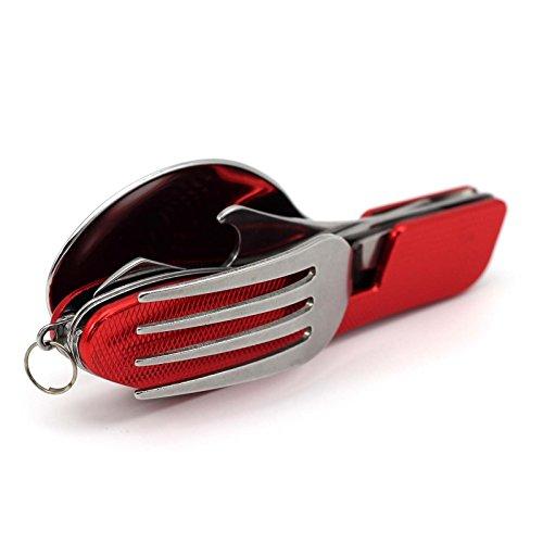 MMRM Bequemlichkeit Multifunktions- Löffel-Gabel-Messer 3 in 1 Bestecke Geschirr für Reisen - Rot