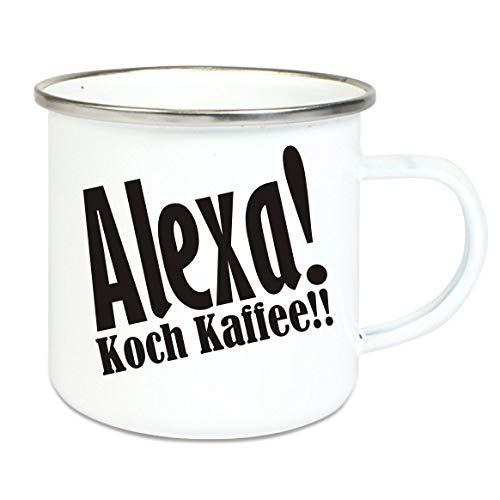 crealuxe XXL - Emaille Tasse mit Rand Alexa koch Kaffee - große Kaffeetasse mit Motiv, Campingtasse Bedruckte Emailletasse mit Wunschname
