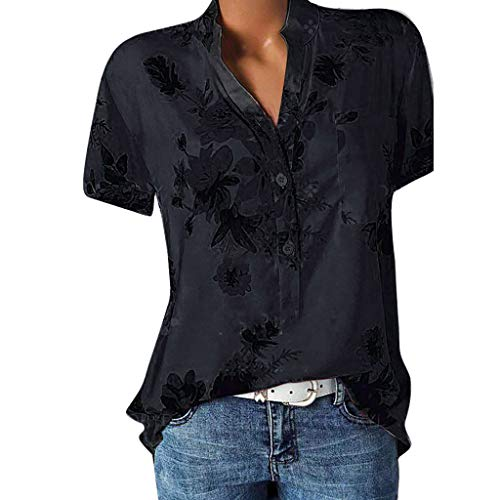 POPLY Frauen Große Größe Top Damen Drucktasche Kurzarmbluse Bohemian Lässige Shirt Plus Size Taste Hemd(Black,L)