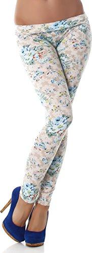 PF-Fashion Damen Leggings Leggins Body Slim Hose Karotte Lang Design Tapered Tarnmuster Blumen Batik Beige 38/40 Ganze Karotten