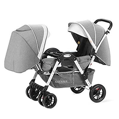 Los cochecitos de bebé gemelos para los hombres y las mujeres pueden sentarse cara a cara reclinable cara a cara con la carretilla plegable de choque, edad aplicable: 0-3 años, teniendo peso: 25kg