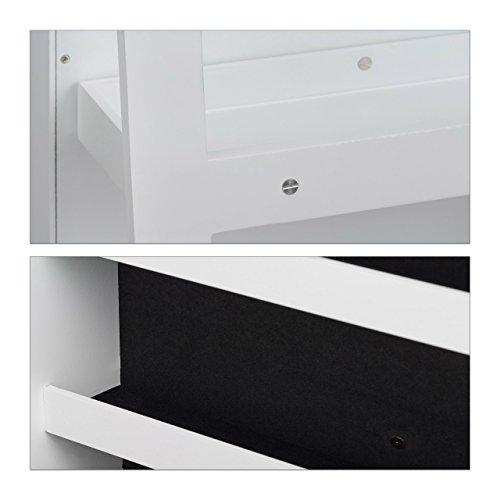 Relaxdays Schmuckschrank weiß mit Spiegel, XXL-Schmuckkasten abschließbar, Spiegelschrank zum Drehen HBT: 161x39,5x40cm - 6