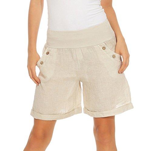Mississhop 280 Damen Leinenshorts Bermuda lockere Kurze Hose Freizeithose 100% Leinen Shorts mit DREI Knöpfen Sommer Strand Beige XXL