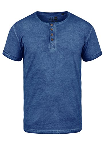 !Solid Tihn Herren T-Shirt Kurzarm Shirt mit Grandad-Ausschnit Aus 100% Baumwolle Slim Fit Meliert, Größe:XL, Farbe:Faded Blue (1542) (Grandad-kragen-shirt)