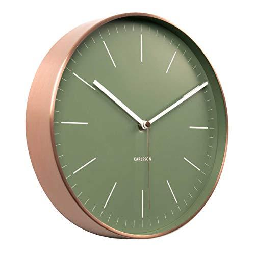 Karlsson Wanduhr Minimal Dschungel grün, analoge Uhr im Vintage- / Retro-Look im Design, grün mit weißen Zeigern und Edelstahl-Rand, Durchmesser 27 cm, batteriebetriebenes Quarz-Uhrwerk