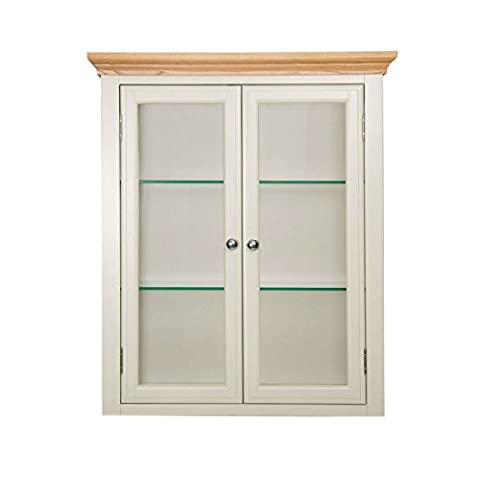 Dune Cream Painted Standard Dresser Top / Sideboard Hutch with Lights and Oak Tops / Metal or Wood