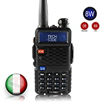 TECHSIDE & BAOFENG MODELLO PIU' POTENTE 8W | Radio TI-F8+ Dual Band Vhf/Uhf | COMPATIBILE MIDLAND G7 Pro G9 Plus canali PREINSTALLATI IDENTICI PMR446 LPD SoftAir Trekking | Accessori| Garanzia ITA