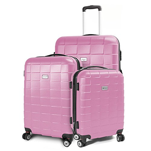 Kofferset 3-teilig Reisekoffer Koffer Trolley Hartschalenkoffer ABS Teleskopgriff Modell Squares (Rosa)