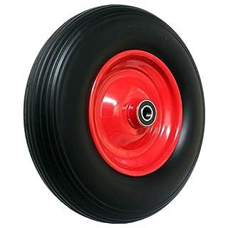 FRONTTOOL Schubkarrenrad pannensicher, PU Vollgummi-Reifen Ø 400 mm mit Präzisions-Kugellager auf Stahlfelge - 150 Kg Traglast - Reifenbreite 88 mm