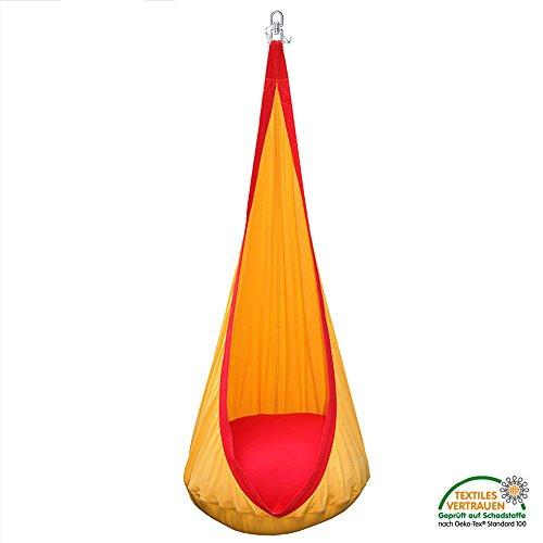 Lola Loli bambini Sun grotta Hanging nido per i bambini in giallo e rosso - 100% cotone e fino a 90 kg di carico Capacità - Cocoon Nest Seat Swing Relaxer Hammock Chair
