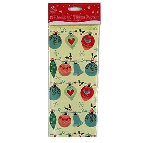 Christmas Printed Tissue Paper - Cream, Babuls - 5 Sheets,