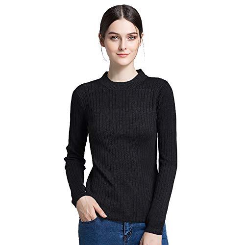 FWJ-clothes Kurzes Damen Sweatshirt mit Rundhalsausschnitt Strickpullover Leichtes, weiches, übergroßes Langarm-Strickoberteil,Schwarz,S -