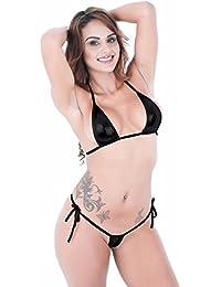 44a1f61a4ea01 iEFiEL Bikini Hot Damen Micro Wetlook Mini Bikini Set Metallic Glanz Mini  Mikro BH Unterwäsche Dessous…
